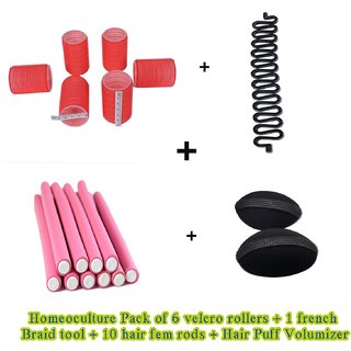 Homeoculture set of hair puff volumizer , velcro roller, 10 fem rods and French braid tool