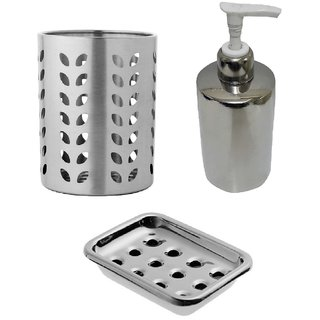3 pcs stainless Steel Bathroom Set - Soap Dispenser, Tooth brush holder and Soap dish