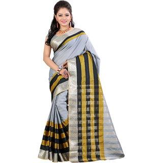 Fashionoma Silver Cotton Printed Saree With Blouse