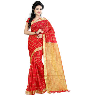 Fashionoma Multicolor Cotton Checks Saree With Blouse