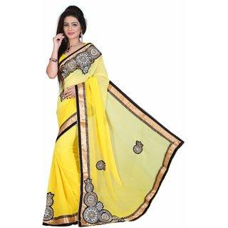 Fashionoma Yellow Art Silk Self Design Saree With Blouse