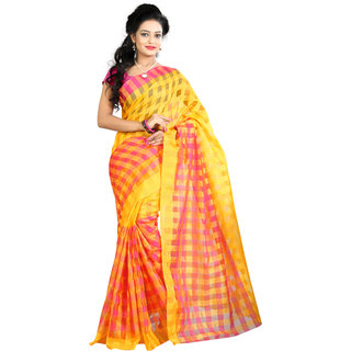 Fashionoma Pink & Yellow Cotton Checks Saree With Blouse