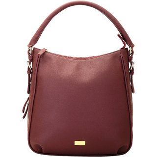 Yelloe hobo bag with botton zipper in maroon B208FT129j
