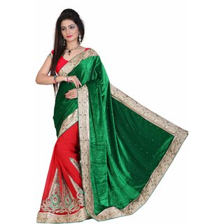 Fashionoma Green Velvet Self Design Saree With Blouse