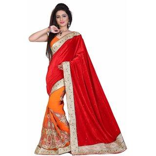Fashionoma Red Velvet Self Design Saree With Blouse