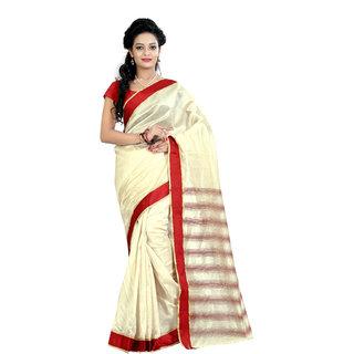 Fashionoma Multicolor Cotton Striped Saree With Blouse