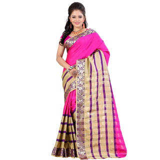 Fashionoma Pink Cotton Printed Saree With Blouse