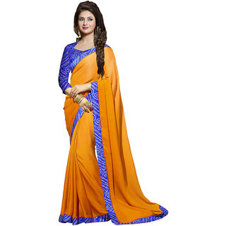 Chigy Whigy Orange Georgette party wear Sarees