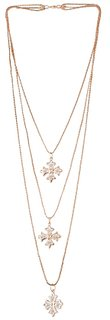 Multilayer Three Pendant Necklace