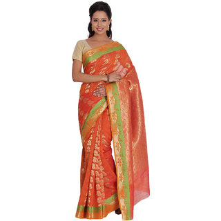 Platinum Present Orange Color Zari with Emboss Work Kosa Silk Saree with Blouse Piece.