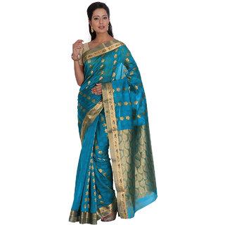 Platinum Present Dark Aqua Color Zari with Emboss Work Silk Cotton Saree with Blouse Piece.
