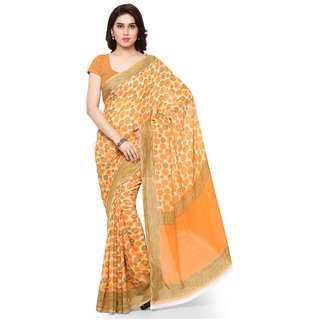 Aagaman Fashion Chic Orange Colored Printed Art Silk Saree 059B