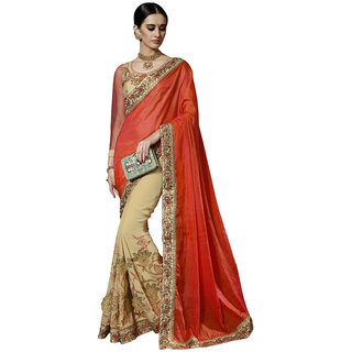 Aagaman Fashion Glorious Orange Colored Embroidered Faux Georgette,Tissue Satin Saree 87047