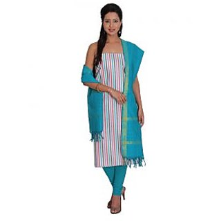 Platinum Present Cotton Women's Salwar Suit Dress Material stripes without Border