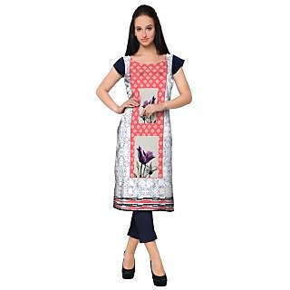 Ahalyaa White Colored Cap Sleeve And Boat Neck Faux Crepe Kurti