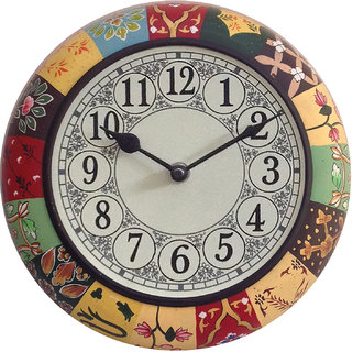 Prateek Exports Wooden Base Round Wall Clock