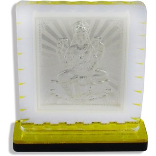 Factorywala Goddess 999 Silver Laxmi Idol for Diwali Puja,Gift,Home Dcor-Yellow