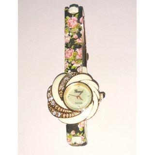 American Diamond Studded Flora Dial, Flora Women's Wriist Watch