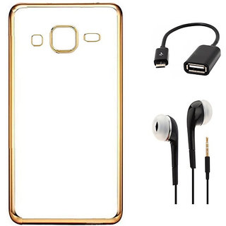 Back Cover for SAMSUNG GALAXY J7 (2016) - Gold With Micro OTG CABLE3.5mm Earphone