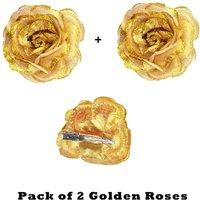 Homeoculture Golden Glittery Rose Flower Hair Clip  Pack Of 2 Pieces