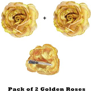 Homeoculture Golden Glittery Rose Flower Hair Clip  Pack of 2 pieces