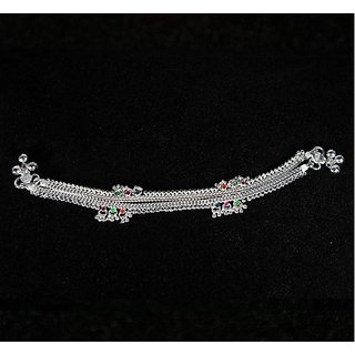 Silver Jewels -Small Multicoloured Materials in Silver Anklet