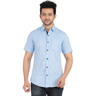 ANYTIME Men's Blue Color Half sleeve Casual Shirt