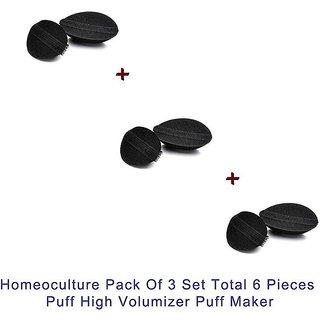 Homeoculture Pack Of 3 Piece Princess Volumizer 2 Pc Different Size Hair Puff High Volumizer Puff Maker