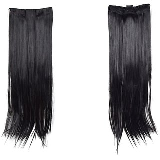 Homeoculture Black 5 clip 24inches Straight hair extension with free golden rose
