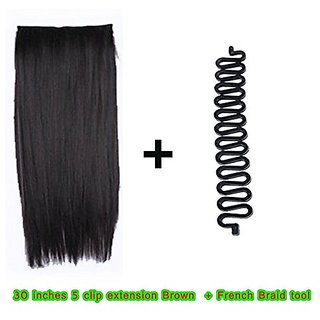 Homeoculture Straight Synthetic 30 inch Hair Extension With Free French Braid tool (Brown)