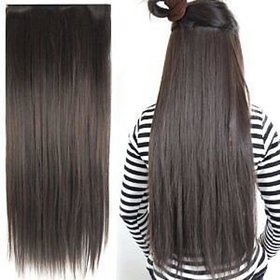Homeoculture Straight Synthetic 24 inch Hair Extension (Natural Brown) With Free Golden rose