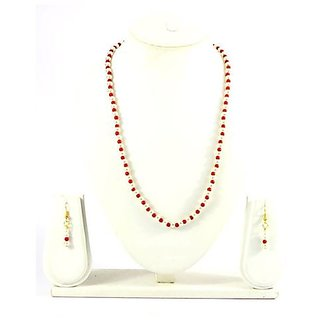 Fancy Jewels-Red & White Coloured Necklace with Earrings