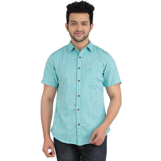 ANYTIME Men's Green Color Half sleeve Casual Shirt