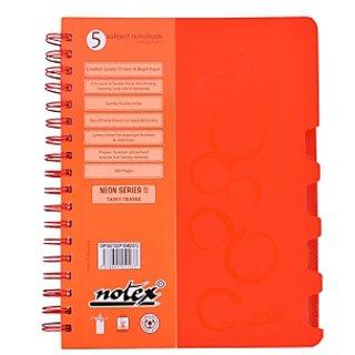 Notex Neon Series 5 Subjects Notebook-Orange