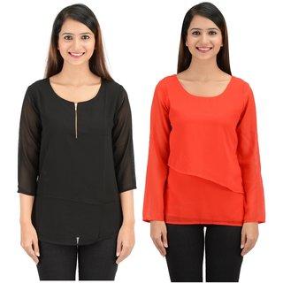 194ff06de1c25 Buy Women Stylish Designer Red n Black Georgette Tops With Inner Lining  Online - Get 70% Off