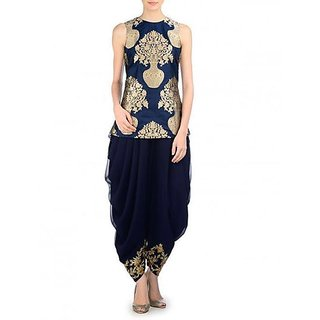 Woven Kurta  Dhoti Pant  Jacket By Fabkaz Navy Blue  Golden)