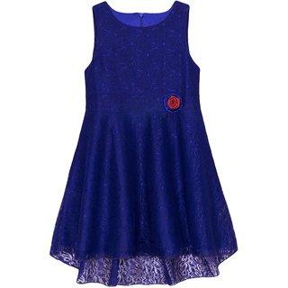Caca Cina Girls High-Low Net dress in Deep Blue