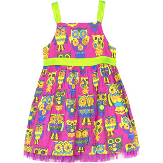 Caca Cina Girls' Owl Print Cotton Dress