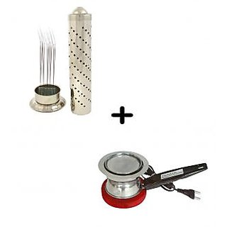 Combo Electric Dhoopdani + Stainless Steel Agarbatti Stand Holder