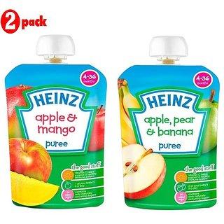 Heinz Puree Combo (Pack of 2) Apple & Mango + Apple, Pear & Banana