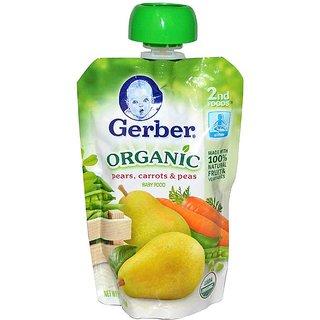 Gerber 2nd Foods 99G (3.5oz) - Organic Pears, Carrots & Peas
