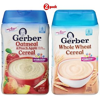 Gerber Cereal Combo 227G (8oz) (Pack of 2) - Oatmeal Peach Apple + Whole Wheat Cereal