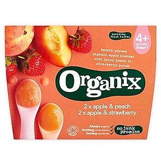 Organix 2 X Apple & Peach, 2 X Apple & Strawberry 4Pk (4m+) - 400G