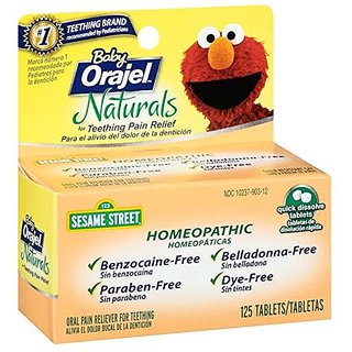 Baby Orajel Naturals 125 Tablets For Teething Pain Relief (Homeopathic)