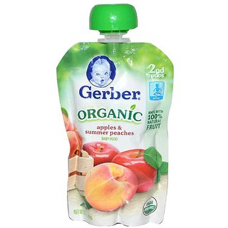 Gerber 2nd Foods 99G (3.5oz) - Organic Apples & Summer Peaches