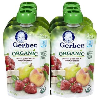 Gerber 2nd Foods 99G (3.5oz) - Organic Pears Peach & Strawberries
