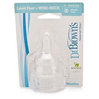Dr Browns Natural Flow Nipple Wide-Neck Level 4 (2Pk) (9m+) - 0367