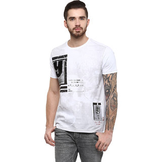 Fritzberg Men's Printed White Round Neck T-shirt