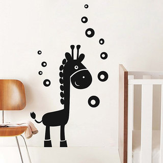 Giraffe And Bubbles Wall Decal