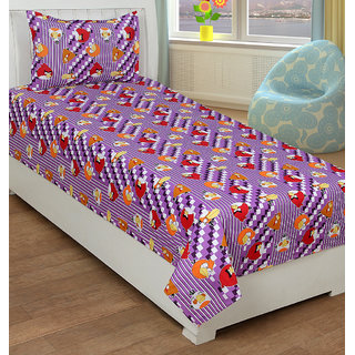 Trendz Printed  Single Cotton Kids Bedsheet With 1 Pillow Covers